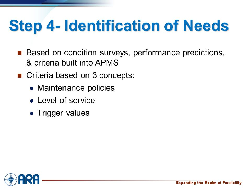 a Expanding the Realm of Possibility Step 4- Identification of Needs Based on condition surveys, performance predictions, & criteria built into APMS Criteria based on 3 concepts: Maintenance policies Level of service Trigger values