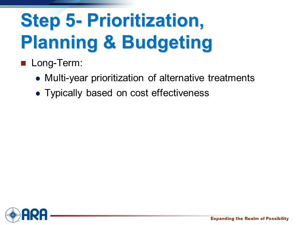 a Expanding the Realm of Possibility Step 5- Prioritization, Planning & Budgeting Long-Term: Multi-year prioritization of alternative treatments Typically based on cost effectiveness
