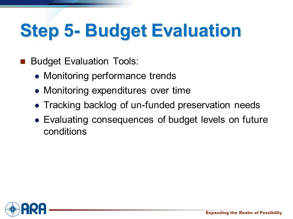 a Expanding the Realm of Possibility Step 5- Budget Evaluation Budget Evaluation Tools: Monitoring performance trends Monitoring expenditures over time Tracking backlog of un-funded preservation needs Evaluating consequences of budget levels on future conditions