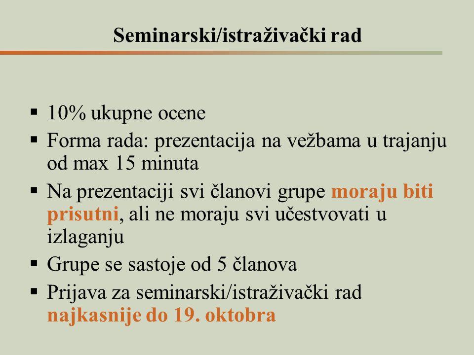 Seminarski/istraživački rad  10% ukupne ocene  Forma rada: prezentacija na vežbama u trajanju od max 15 minuta  Na prezentaciji svi članovi grupe m