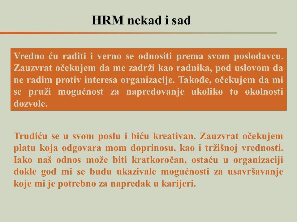 HRM nekad i sad Vredno ću raditi i verno se odnositi prema svom poslodavcu. Zauzvrat očekujem da me zadrži kao radnika, pod uslovom da ne radim protiv
