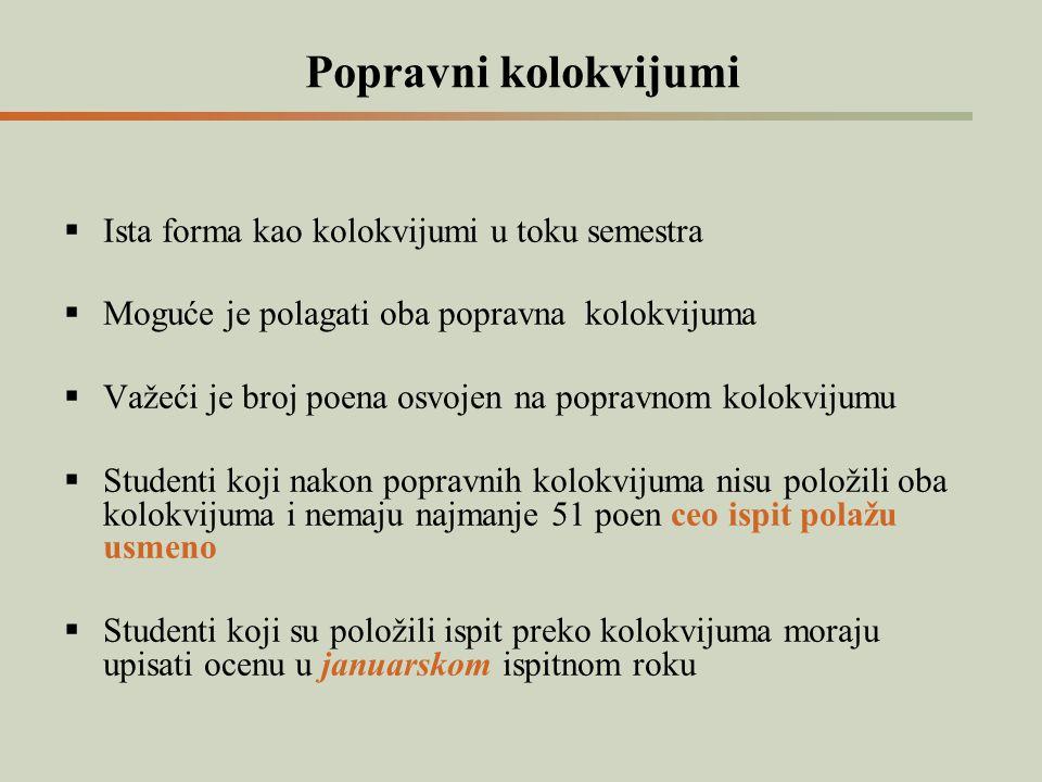 Popravni kolokvijumi  Ista forma kao kolokvijumi u toku semestra  Moguće je polagati oba popravna kolokvijuma  Važeći je broj poena osvojen na popr