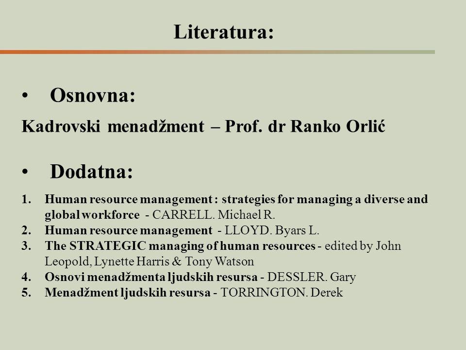 Literatura: Osnovna: Kadrovski menadžment – Prof. dr Ranko Orlić Dodatna: 1.Human resource management : strategies for managing a diverse and global w