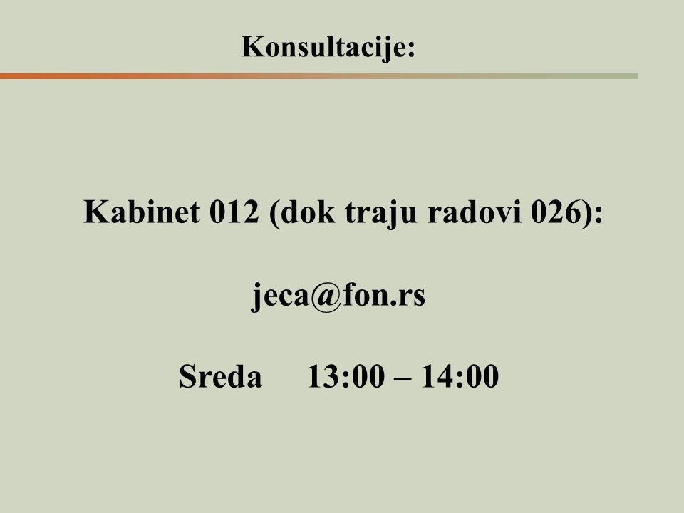 Konsultacije: Kabinet 012 (dok traju radovi 026): jeca@fon.rs Sreda 13:00 – 14:00