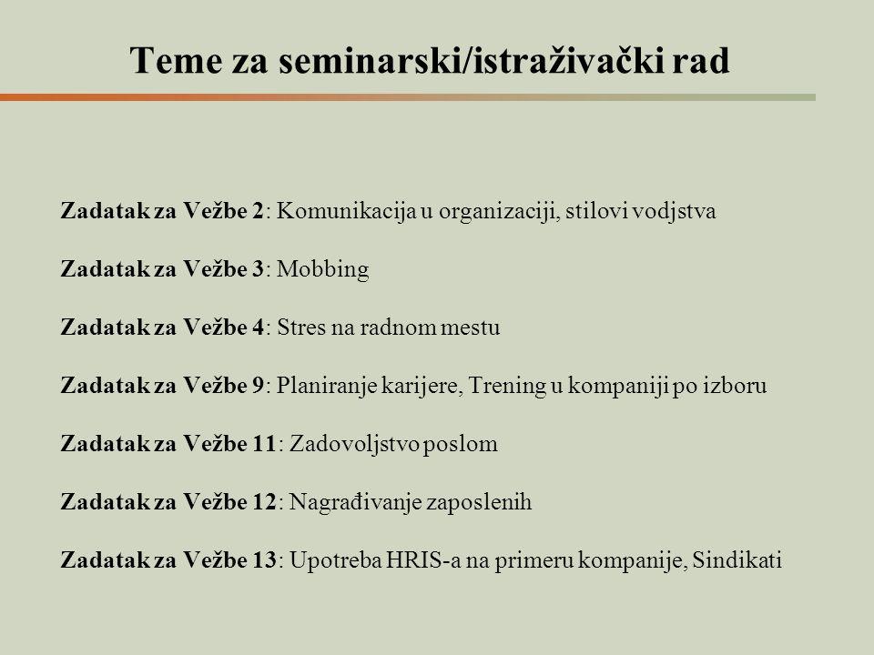 Teme za seminarski/istraživački rad Zadatak za Vežbe 2: Komunikacija u organizaciji, stilovi vodjstva Zadatak za Vežbe 3: Mobbing Zadatak za Vežbe 4: