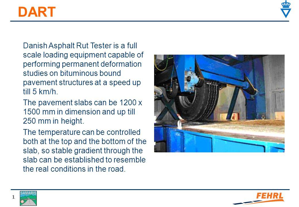 1 DART Danish Asphalt Rut Tester is a full scale loading equipment capable of performing permanent deformation studies on bituminous bound pavement st