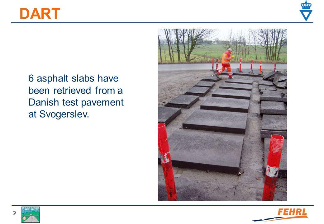 3 DART 2 asphalt slabs have been retrieved from a test pavement at EPFL-LAVOC, Lausanne, Schweiz.