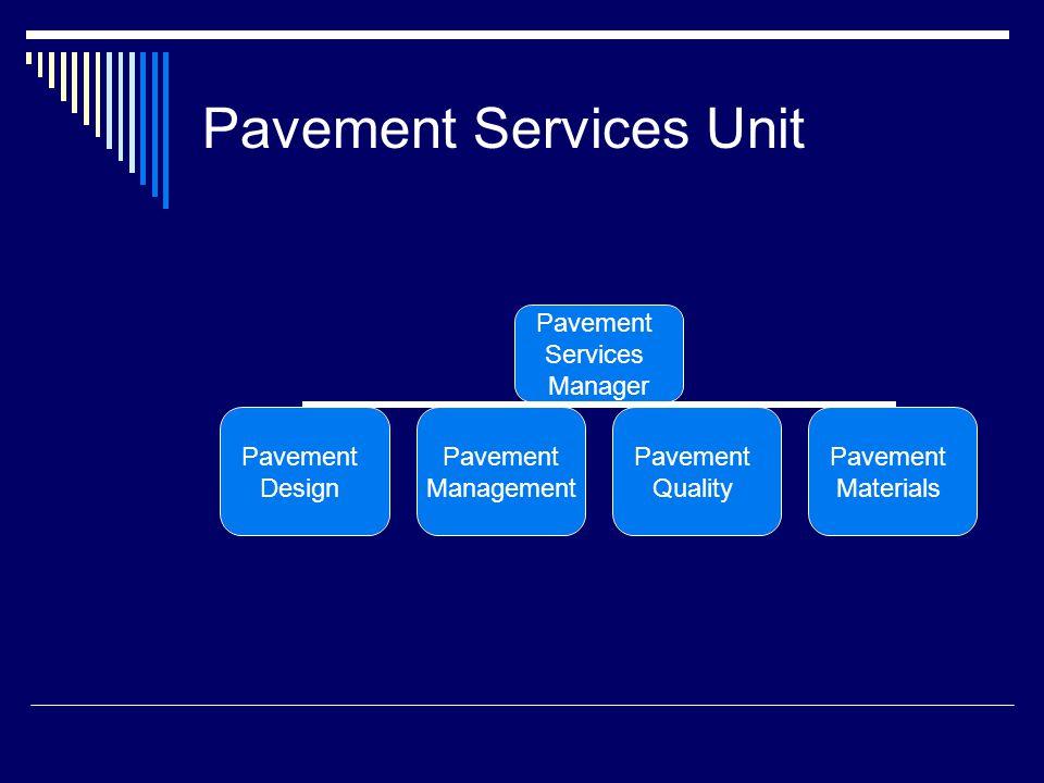 Pavement Services Unit Pavement Services Manager Pavement Design Pavement Management Pavement Quality Pavement Materials