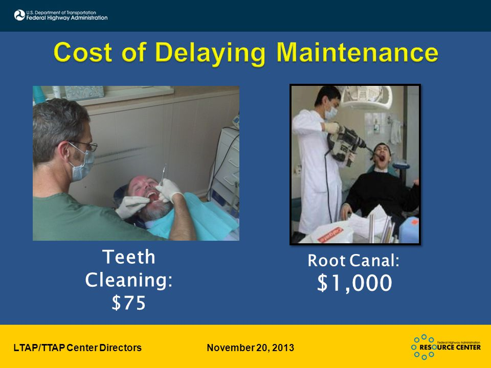 LTAP/TTAP Center Directors November 20, 2013 Teeth Cleaning: $75 Root Canal: $1,000