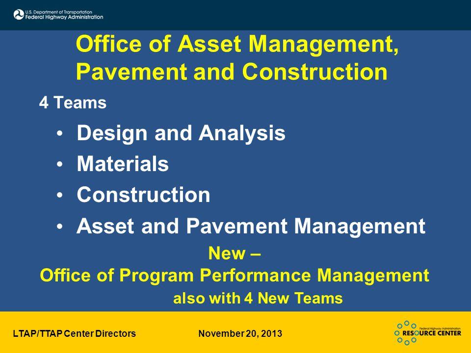 LTAP/TTAP Center Directors November 20, 2013 FHWA Supports Pavement Preservation!