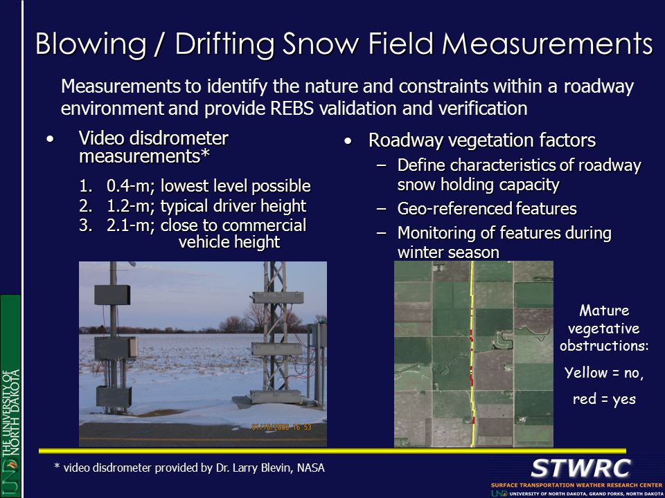 Blowing / Drifting Snow Field Measurements Video disdrometer measurements*Video disdrometer measurements* 1.0.4-m; lowest level possible 2.1.2-m; typical driver height 3.2.1-m; close to commercial vehicle height Roadway vegetation factorsRoadway vegetation factors –Define characteristics of roadway snow holding capacity –Geo-referenced features –Monitoring of features during winter season Measurements to identify the nature and constraints within a roadway environment and provide REBS validation and verification * video disdrometer provided by Dr.