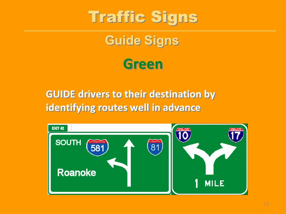 Guide Signs GUIDE drivers to their destination by identifying routes well in advance Green Traffic Signs 13