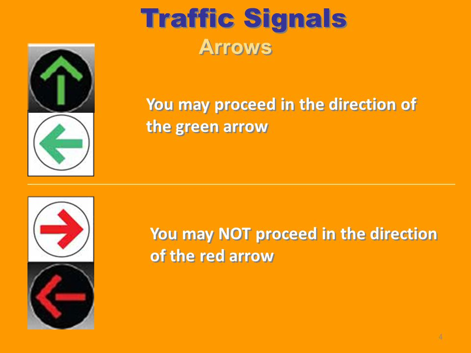 Arrows You may proceed in the direction of the green arrow You may NOT proceed in the direction of the red arrow Traffic Signals 4