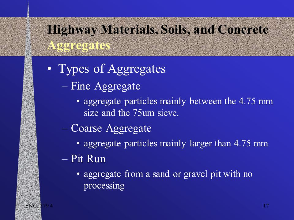 ENCI 579 417 Highway Materials, Soils, and Concrete Aggregates Types of Aggregates –Fine Aggregate aggregate particles mainly between the 4.75 mm size