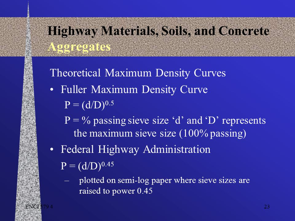 ENCI 579 423 Highway Materials, Soils, and Concrete Aggregates Theoretical Maximum Density Curves Fuller Maximum Density Curve P = (d/D) 0.5 P = % pas