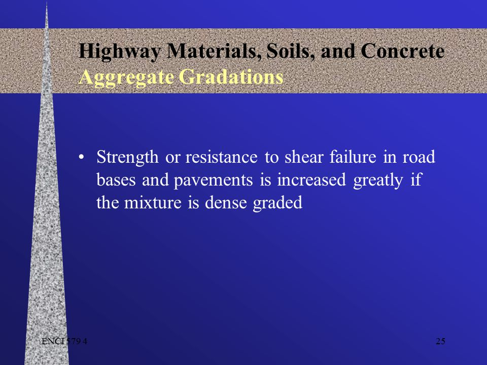 ENCI 579 425 Highway Materials, Soils, and Concrete Aggregate Gradations Strength or resistance to shear failure in road bases and pavements is increa