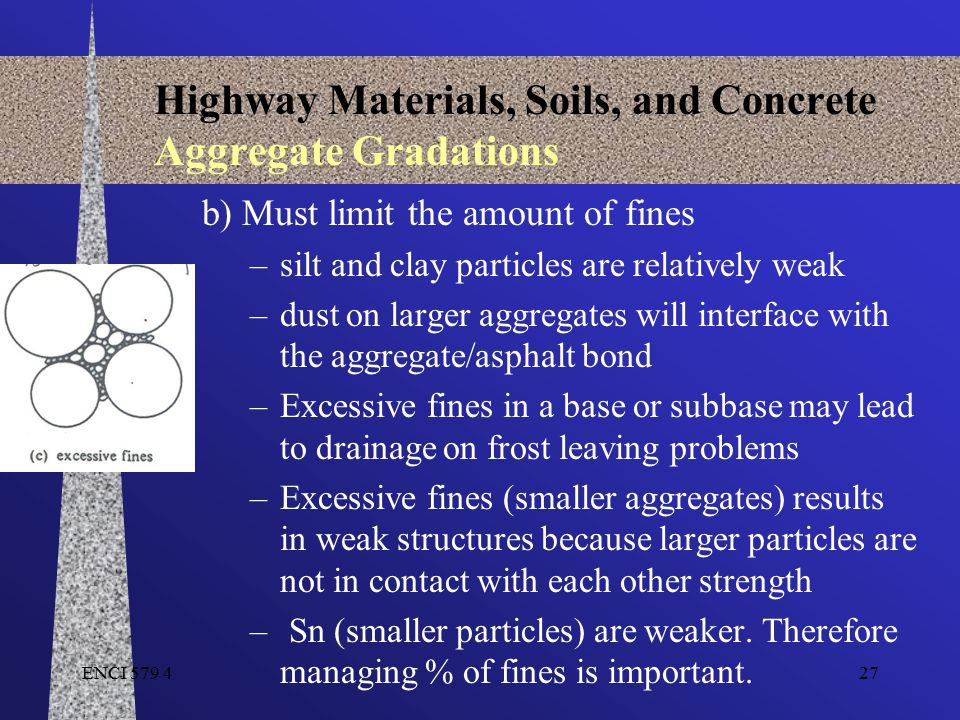 ENCI 579 427 Highway Materials, Soils, and Concrete Aggregate Gradations b) Must limit the amount of fines –silt and clay particles are relatively wea