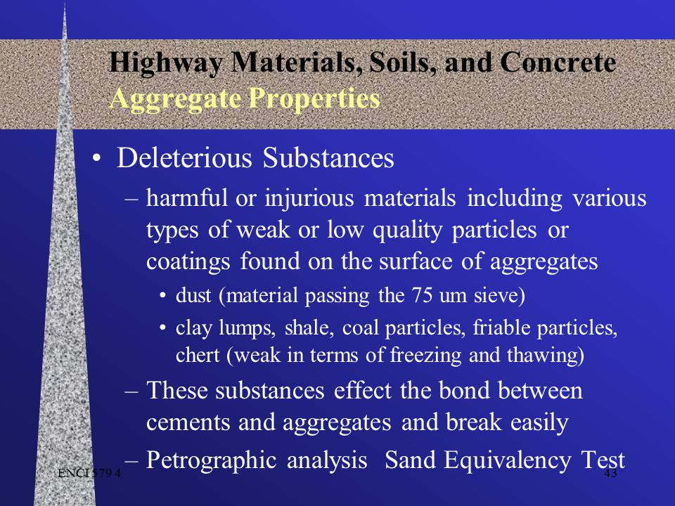 ENCI 579 443 Highway Materials, Soils, and Concrete Aggregate Properties Deleterious Substances –harmful or injurious materials including various type
