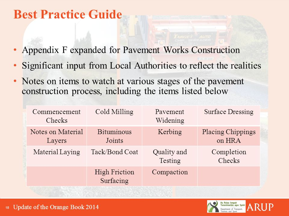 18 Best Practice Guide Appendix F expanded for Pavement Works Construction Significant input from Local Authorities to reflect the realities Notes on