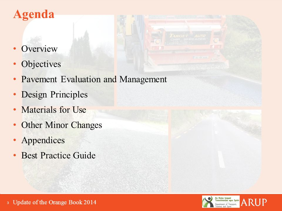 3 Agenda Overview Objectives Pavement Evaluation and Management Design Principles Materials for Use Other Minor Changes Appendices Best Practice Guide