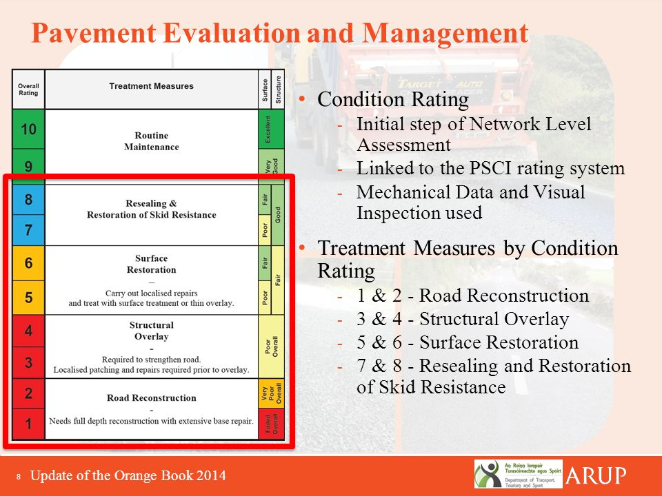 8 Pavement Evaluation and Management Condition Rating - Initial step of Network Level Assessment - Linked to the PSCI rating system - Mechanical Data