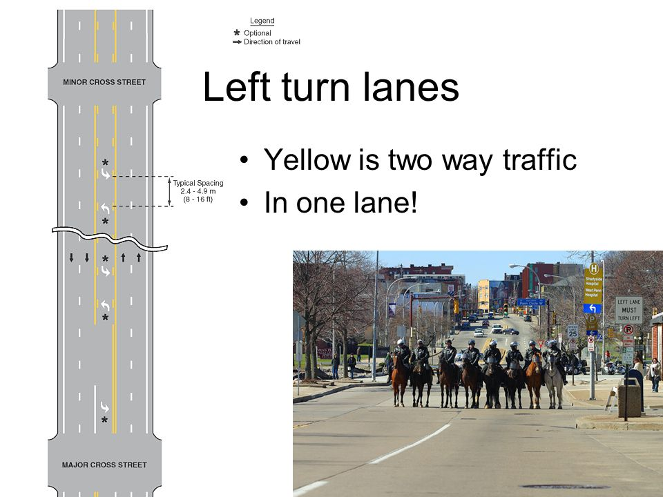 Left turn lanes Yellow is two way traffic In one lane!