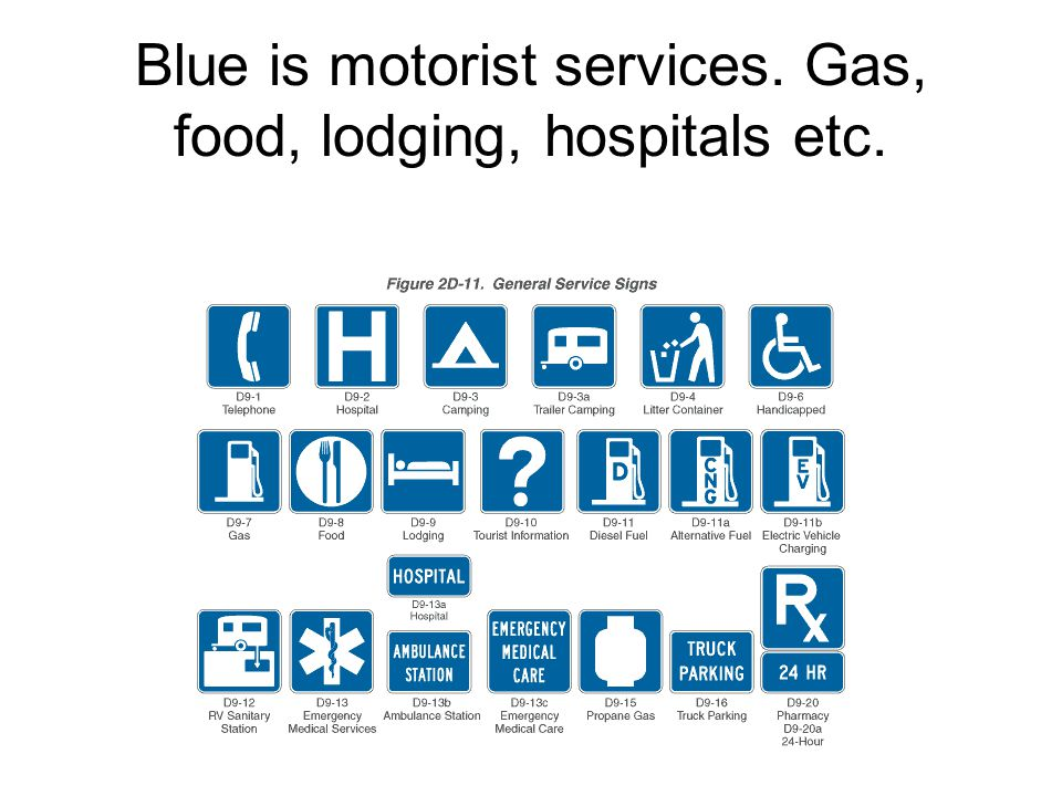 Blue is motorist services. Gas, food, lodging, hospitals etc.