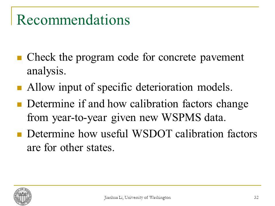 Jianhua Li, University of Washington 32 Recommendations Check the program code for concrete pavement analysis.