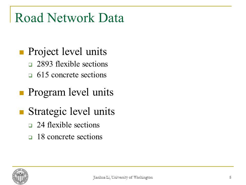 Jianhua Li, University of Washington 8 Road Network Data Project level units  2893 flexible sections  615 concrete sections Program level units Strategic level units  24 flexible sections  18 concrete sections