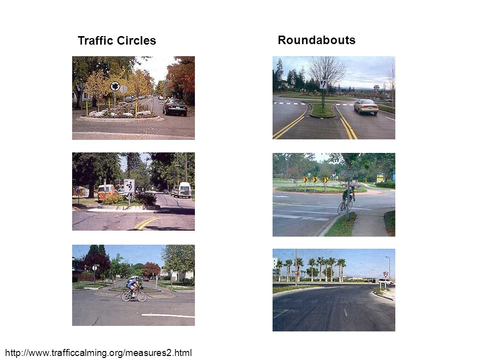 Traffic Circles Roundabouts http://www.trafficcalming.org/measures2.html