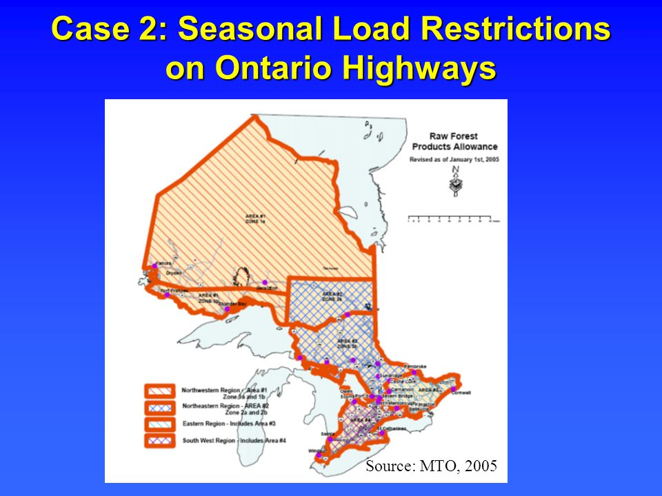Case 2: Seasonal Load Restrictions on Ontario Highways Source: MTO, 2005