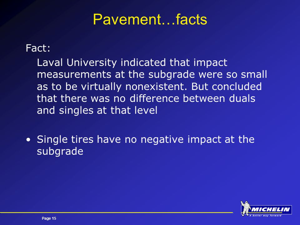Page 15 Pavement…facts Fact: Laval University indicated that impact measurements at the subgrade were so small as to be virtually nonexistent.