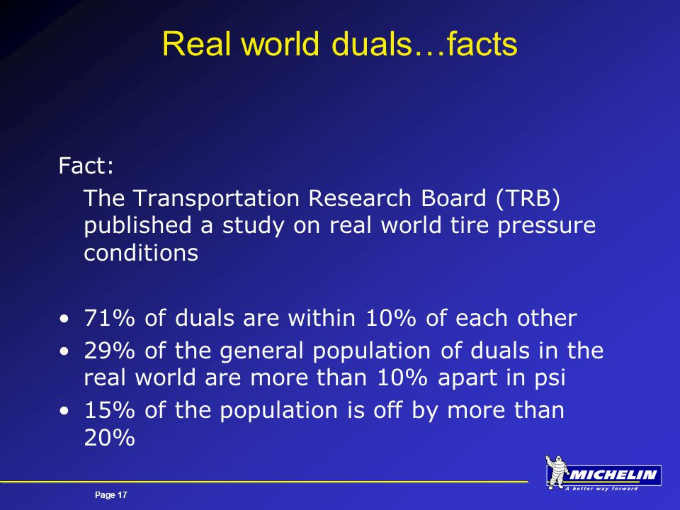 Page 17 Real world duals…facts Fact: The Transportation Research Board (TRB) published a study on real world tire pressure conditions 71% of duals are within 10% of each other 29% of the general population of duals in the real world are more than 10% apart in psi 15% of the population is off by more than 20%