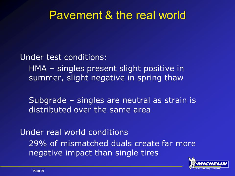 Page 20 Pavement & the real world Under test conditions: HMA – singles present slight positive in summer, slight negative in spring thaw Subgrade – singles are neutral as strain is distributed over the same area Under real world conditions 29% of mismatched duals create far more negative impact than single tires