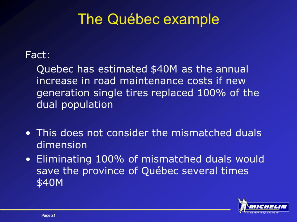 Page 21 The Québec example Fact: Quebec has estimated $40M as the annual increase in road maintenance costs if new generation single tires replaced 100% of the dual population This does not consider the mismatched duals dimension Eliminating 100% of mismatched duals would save the province of Québec several times $40M