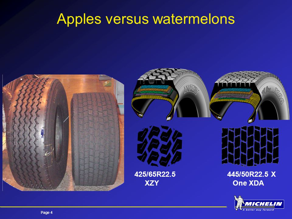 Page 4 Apples versus watermelons 425/65R22.5 XZY 445/50R22.5 X One XDA