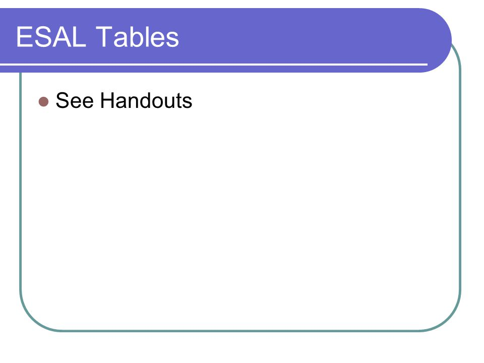 ESAL Tables See Handouts