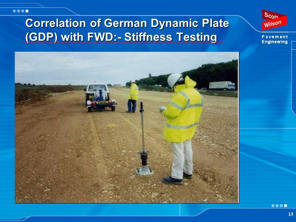 13 Correlation of German Dynamic Plate (GDP) with FWD:- Stiffness Testing