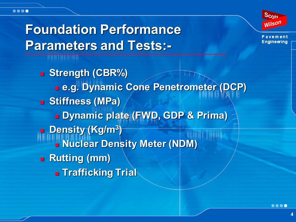 4 Foundation Performance Parameters and Tests:- Strength (CBR%) Strength (CBR%) e.g. Dynamic Cone Penetrometer (DCP) e.g. Dynamic Cone Penetrometer (D