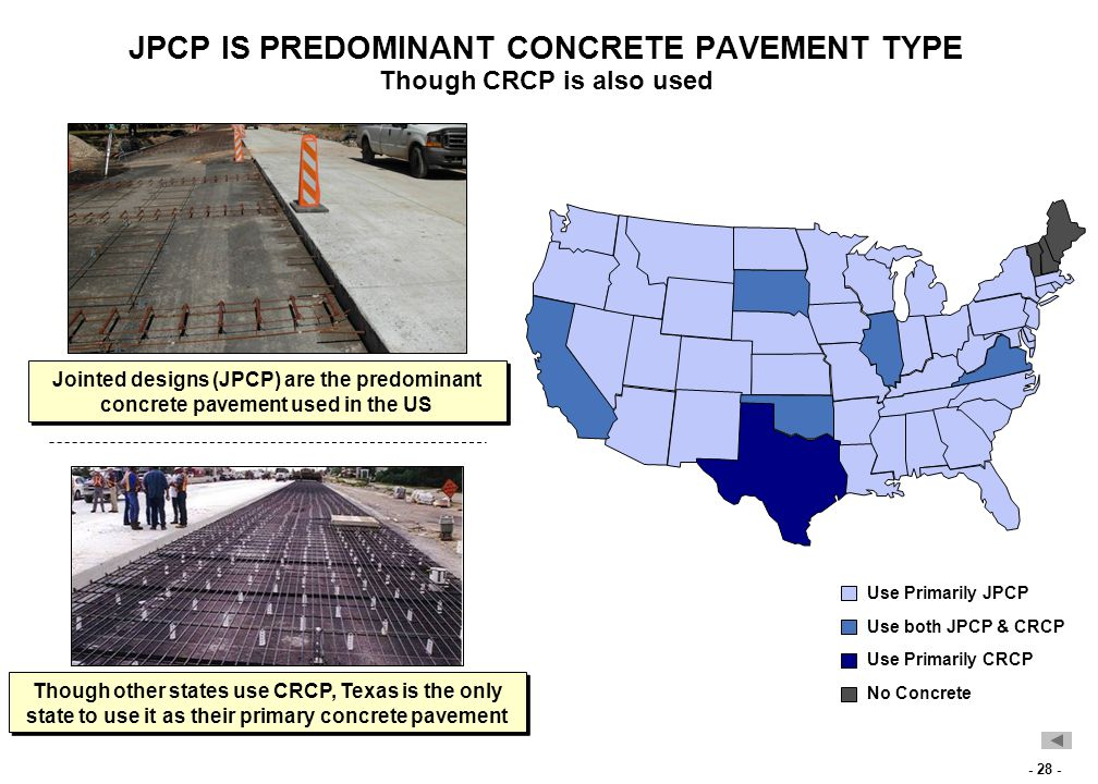 - 28 - JPCP IS PREDOMINANT CONCRETE PAVEMENT TYPE Though CRCP is also used Jointed designs (JPCP) are the predominant concrete pavement used in the US Though other states use CRCP, Texas is the only state to use it as their primary concrete pavement Use Primarily JPCP Use Primarily CRCP No Concrete Use both JPCP & CRCP
