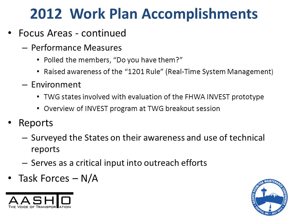 2012 Work Plan Accomplishments Focus Areas - continued – Performance Measures Polled the members, Do you have them Raised awareness of the 1201 Rule (Real-Time System Management ) – Environment TWG states involved with evaluation of the FHWA INVEST prototype Overview of INVEST program at TWG breakout session Reports – Surveyed the States on their awareness and use of technical reports – Serves as a critical input into outreach efforts Task Forces – N/A