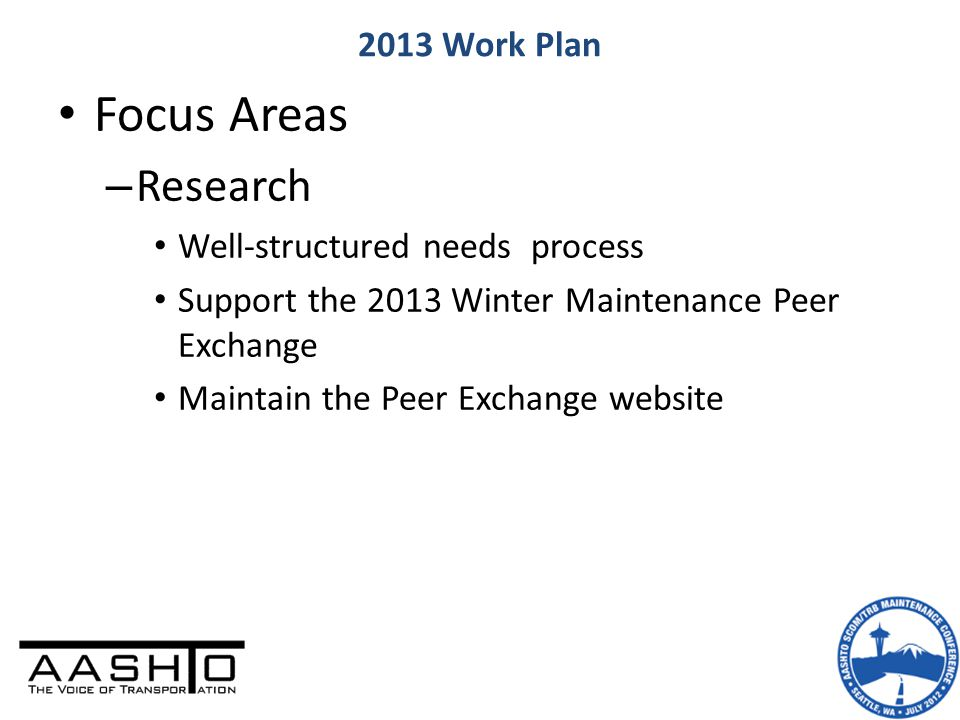 Focus Areas – Research Well-structured needs process Support the 2013 Winter Maintenance Peer Exchange Maintain the Peer Exchange website 2013 Work Pl