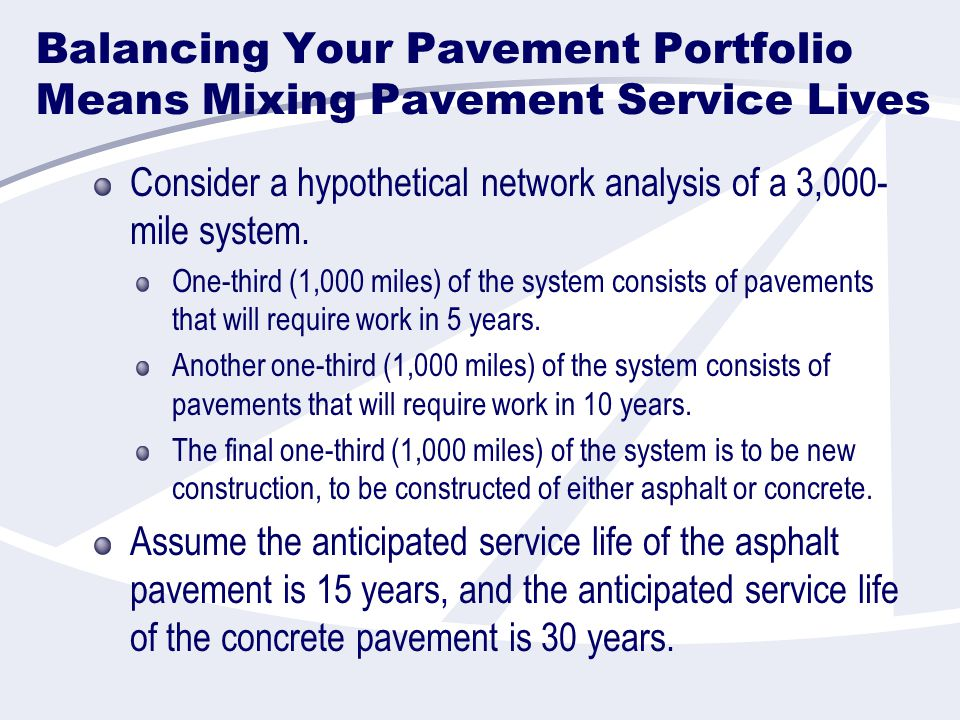 Balancing Your Pavement Portfolio Means Mixing Pavement Service Lives Consider a hypothetical network analysis of a 3,000- mile system.