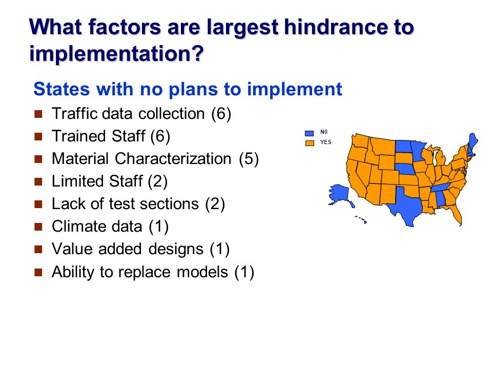 What factors are largest hindrance to implementation.