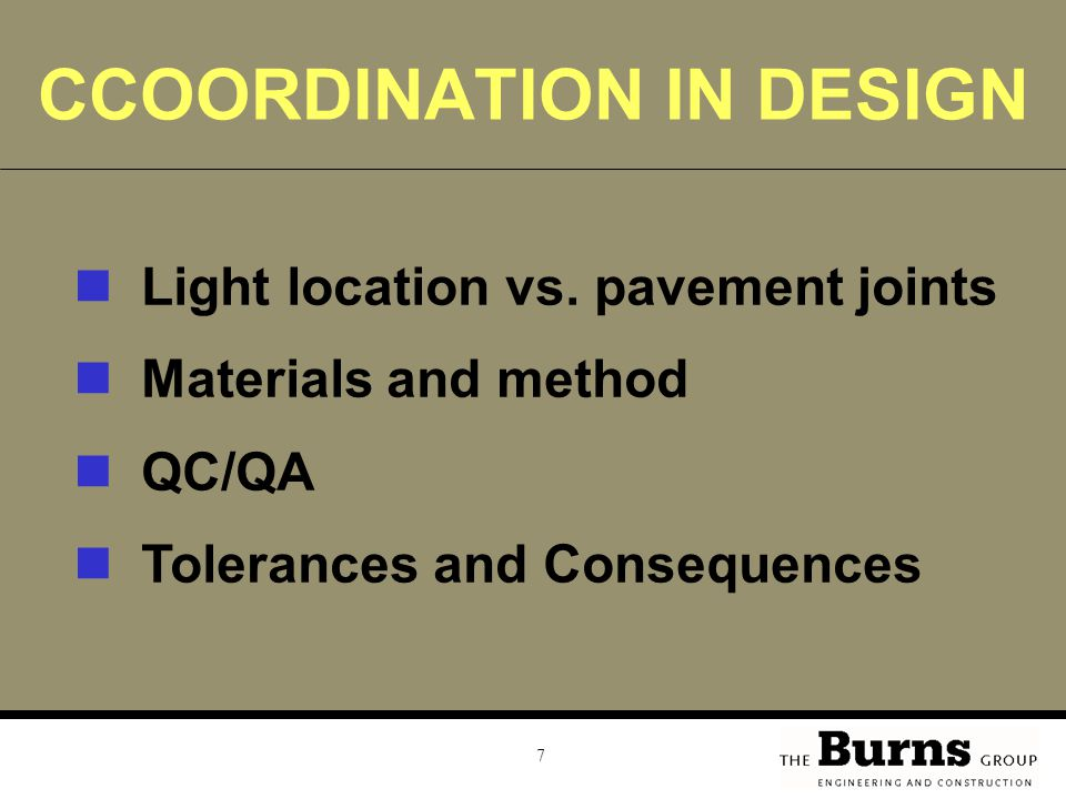 7 CCOORDINATION IN DESIGN Light location vs.