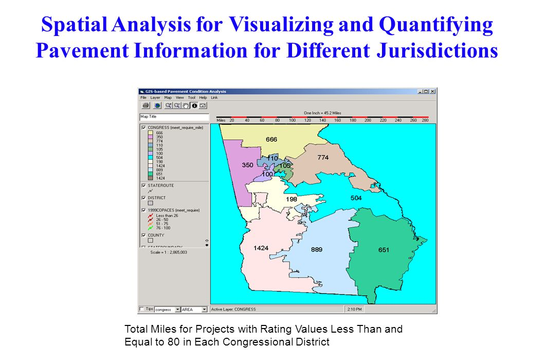 Spatial Analysis for Visualizing and Quantifying Pavement Information for Different Jurisdictions Total Miles for Projects with Rating Values Less Tha