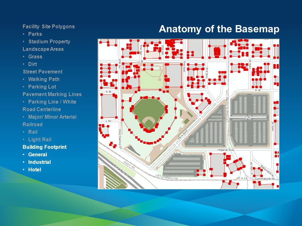 Anatomy of the Basemap Facility Site Polygons Parks Stadium Property Landscape Areas Grass Dirt Street Pavement Walking Path Parking Lot Pavement Marking Lines Parking Line / White Road Centerline Major/ Minor Arterial Railroad Rail Light Rail Building Footprint General Industrial Hotel Trees Palm Maple