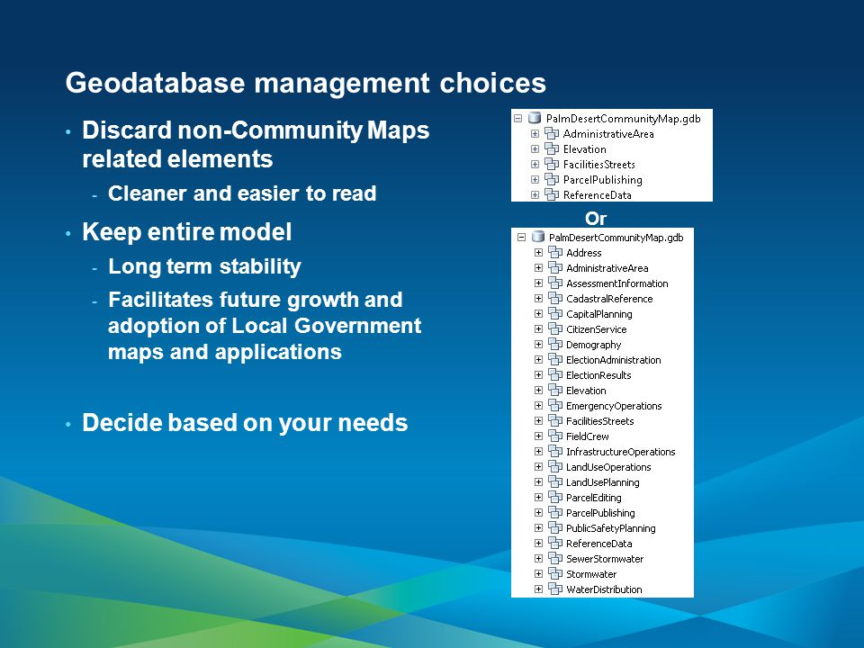 Geodatabase management choices Discard non-Community Maps related elements - Cleaner and easier to read Keep entire model - Long term stability - Faci