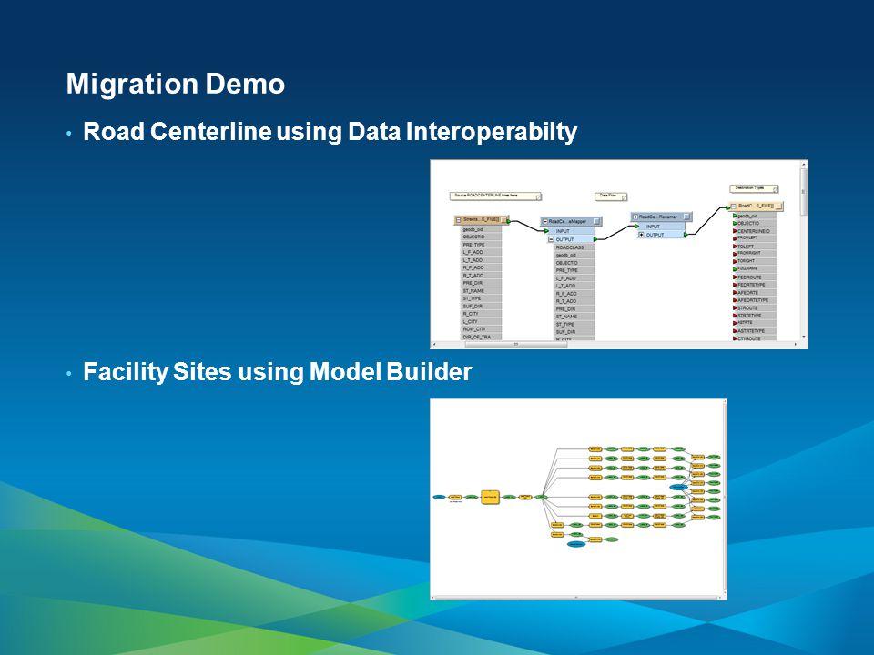 Migration Demo Road Centerline using Data Interoperabilty Facility Sites using Model Builder