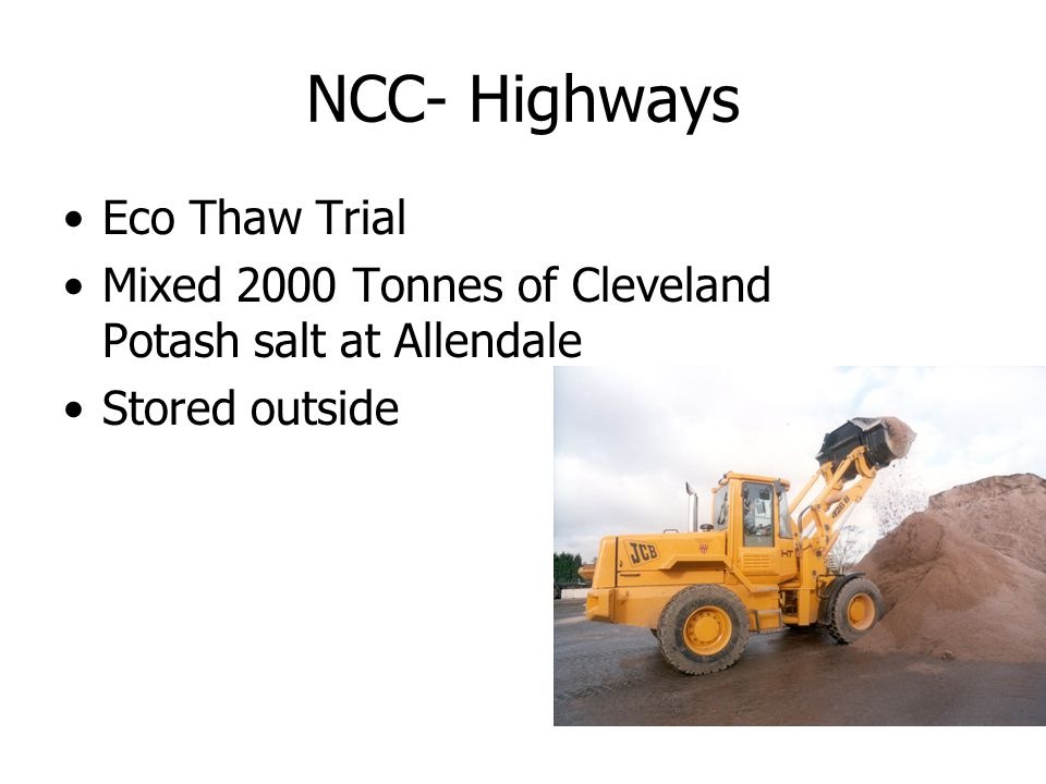 NCC- Highways Eco Thaw Trial Mixed 2000 Tonnes of Cleveland Potash salt at Allendale Stored outside